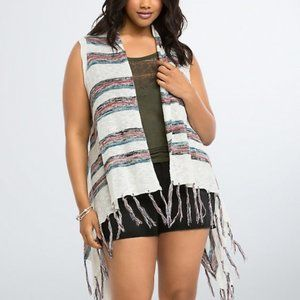 Torrid Striped Fringe Vest